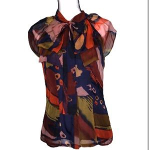MM COUTURE BLOUSE BY MISS ME SILK PRINT BUTTONDOWN
